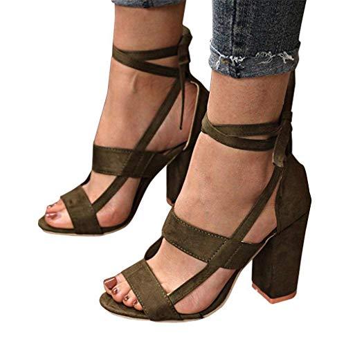 Sandalias Mujeres De Verano Tacón Altos Tacones Elegante Minetom Shoes Zapatos Peep A Casual Sandals Ancho Verde Fiesta Toe Playa Moda dwFWSq