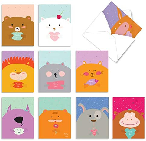 10 All Occasion 'Fur You' Thank You Cards with Envelopes 4 x 5.12 inch, Assorted Greeting Cards Featuring Chubby Cartoon Animals, Stationery for Baby Showers, Birthdays, Holidays and More M6584TYG
