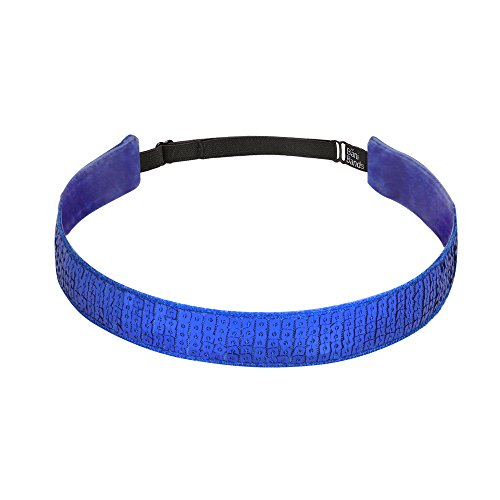 (Bani Bands Girls Workout Sports Headbands | Sequin for Dance Jazz Cheer Volleyball Tennis Gymnastics | Colors to Match Costumes Uniforms Outfits | for Youth Teens Girls Women | Non-Slip | Royal Blue)
