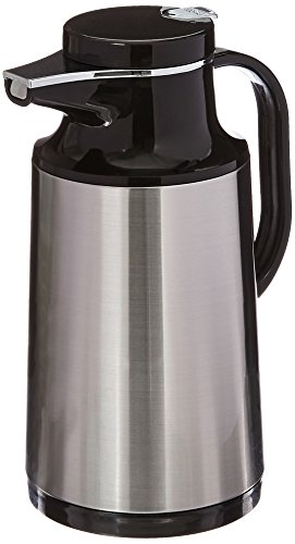 Service Ideas HPS101 Glass-Lined Carafe, Vacuum Insulated, 1 Liter (33.8 oz.), Brushed Stainless/Black - Idee Glasses