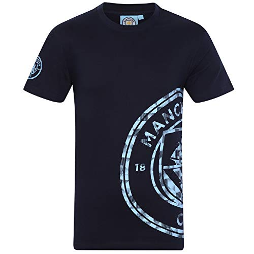 Manchester City FC Official Soccer Gift Mens Graphic T-Shirt Navy Large