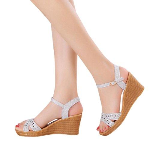 SANFASHION Femmes Sandales Compensées Femme Chaussures Strass Brillant Tongs d'été Casual Peep Toe Platform Wedges Talons de Travail Élégant Argent PBYSr