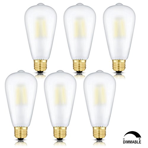CRLight LED Edison Bulb 4W Dimmable 4000K Daylight (Neutral White) 400LM, E26 Medium Base 40W Equivalent, ST21(ST64) Vintage Frosted Glass LED Filament Bulbs, 360 Degrees Beam Angle, Pack of 6