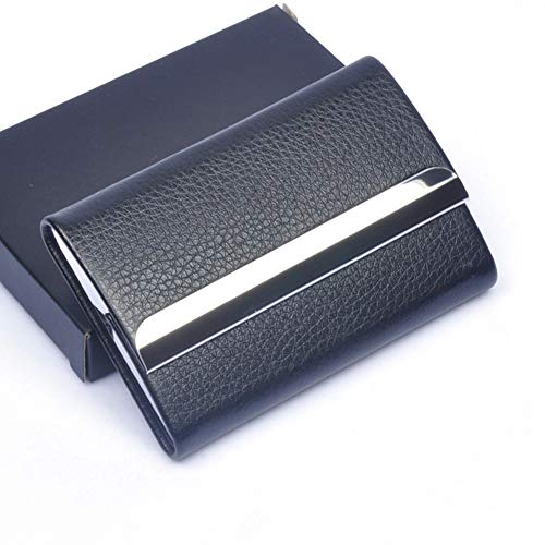 Single Sided Cigarette Case Holds - NACHEN Stainless Steel Leather Cigarette Case Men's Ultra Thin Flip Magnet Cigarettes Box Can Hold 7,Black,9.5X6.3X1.7CM