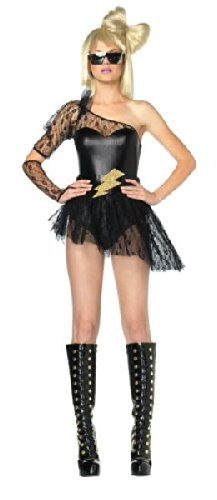 [Leg Avenue Women's 3 Piece Lightening Rocker Bodysuit With Skirt And Gauntlet GlovesBlackX-Small] (Lady Reaper Costumes)