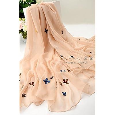 _ Foulard en Soie de couleur solide autocollants tridimensionnels foulards en soie grande écharpe châle climatisation XF23