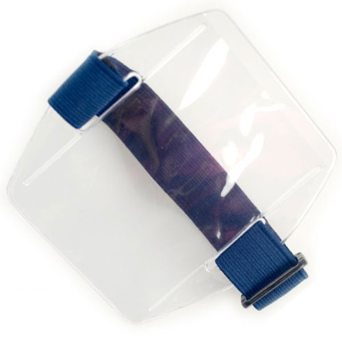 Vertical Government Size Armband ID Badge Holder With Blue Hook and Loop Closure by Specialist ID, Sold Individually (P/N GABH-V-BLUE)