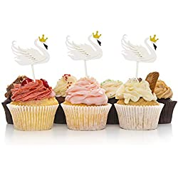 HZOnline Swan Cupcake Cake Toppers, Elegant Swan Dessert Food Picks for Girls' Birthday Wedding Bridal Engagement Party Baby Shower Decoration (15PCS White)
