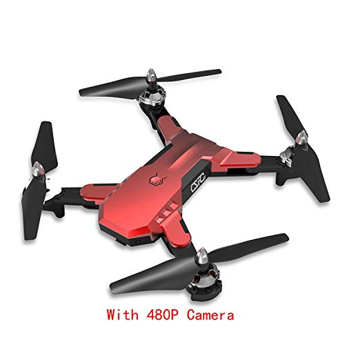 CS-7 GPS Foldable Quadcopter with 4CH 6-Axis Gyro 1080P Camera UAV Speed Adjustable Headless Mode Gravity Sensing Drones,480p Red