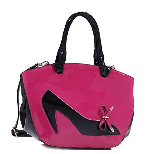 K80315L MyLux Women Fashion Patent Leather Handbag Shoulder Bag FU/BK