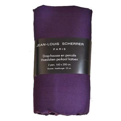 Drap housse 2 places. Jean Louis Scherrer Mauve 160 x 200 x 25 cm