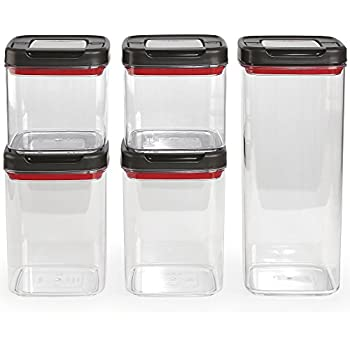T-fal Ingenio 84566 airtight flip lever dry food container, square, 5 pc set