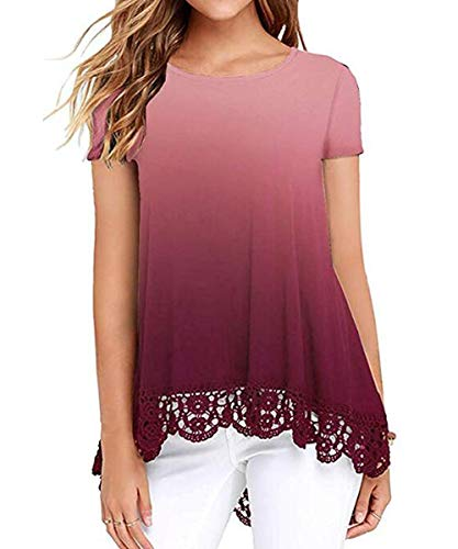 Ladies Tops Short Sleeve Casual Loose Tee Shirts Undershirts Blouses Plus Size Ombre Burgundy 2XL