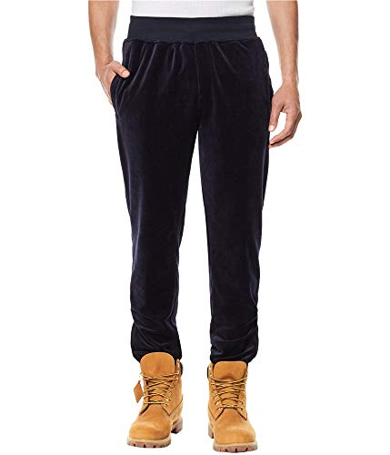 (Sean John Mens Drawstring Classic Fit Velour Pants Blacks)