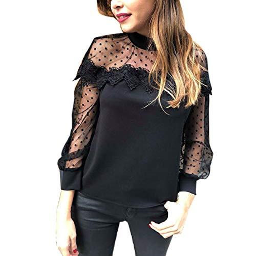 Rakkiss_ Women Vest Solid T-Shirt Lace Blouse Dot Tunic Mesh Tops Mini Pullover Black ()