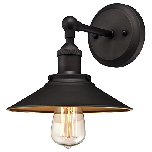 Westinghouse Lighting 6335500 Louis One-Light Indoor Wall Fixture, Oil Rubbed Finish and Metallic Bronze Interior, 1 Sconce