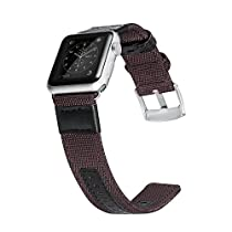 Apple Watch Series 2 Band, Benuo Premium Nylon Woven Smart Watch Replacement, 42mm Wrist Strap with Adjustable Buckle for New Apple iWatch Series 2/ Apple Watch Series 1/Nike+ (Reddish Brown,42mm)