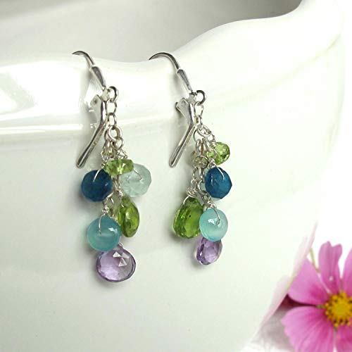 Amethyst, Peridot, Aquamarine, Chalcedony, and Apatite Earrings! A Lovely Tangl