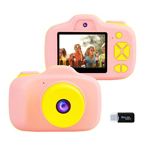 Kids Digital Camera for Girls Gifts, 1080P Video Camcorder for Children, 8MP Front and Rear Selfie Shockproof Soft Silicone Toys Rechargeable Cameras Outdoor Travel Play for Kids 4-8 Years Old (Pink)