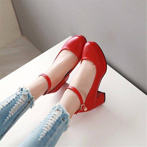 Schuhe Schuhe Pumps Damen Riemchenpumps Shoes Große Gules Werften Women's Einen Grob Damen Flache Herbst Hochhackigen Schuh Geschlossene RFF Ferse Ballerinas 6aBgqtBw
