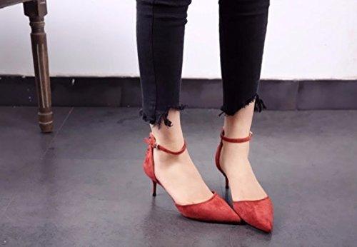 Hueca zapato Señaló Moda 36 ladrillo talones Suede Una Commuter Talón fino Transpirable Solo la palabra 6cm Sandalias de hebilla Rojo elegante AJUNR 36 wPFqgUF