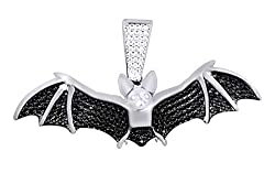Black & White Natural Diamond Flying Bat Pendant