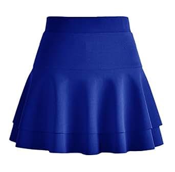 Afibi Casual Mini Stretch Waist Flared Plain Pleated Skater Skirt - Blue - X-Small