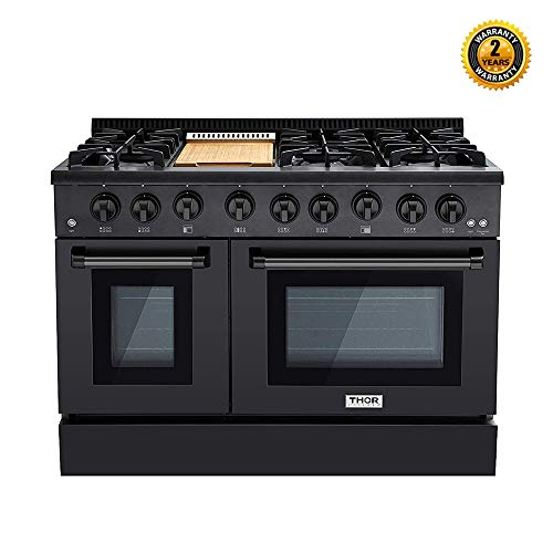 Thor Kitchen 48 inch Freestanding Pro-Style Professional Gas Range with 6.7 Cu. Ft. Oven, 6 Burners 1 Griddle, in Black Stainless Steel – HRG4808-BS