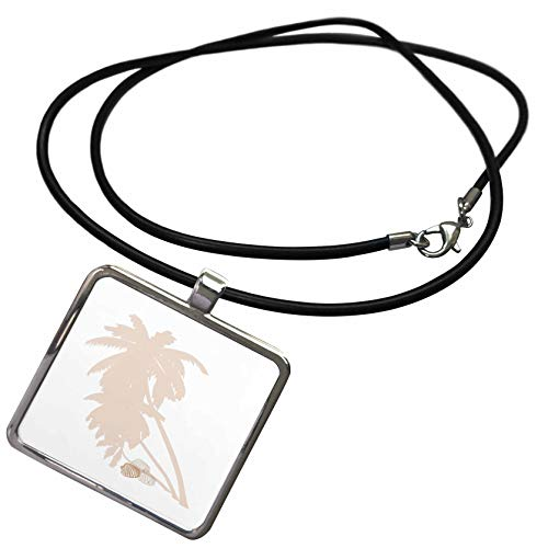 Shell Rectangle Pendant - 3dRose Lens Art by Florene - Beach Decor - Image of Delicate Blush Color Palm Trees and Shells - Necklace with Rectangle Pendant (ncl_305835_1)