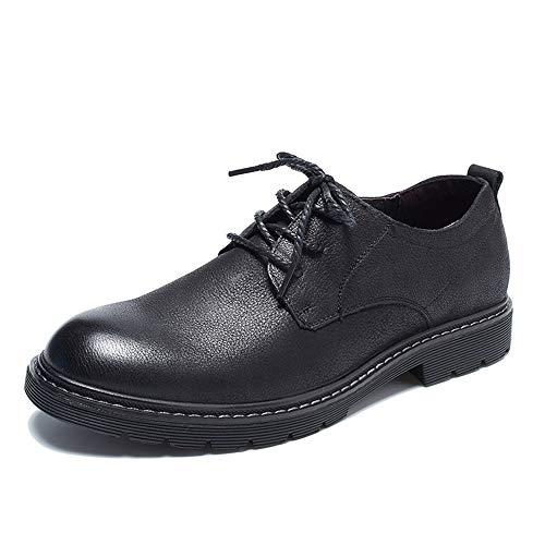 Derbys Cuero Para Transpirable Genuino color Negro Calzado Oficina Eu Marrón 39 Con Cordones Zapatos De Sin Hombres Tamaño Informal Qiusa ExOp4Rqn