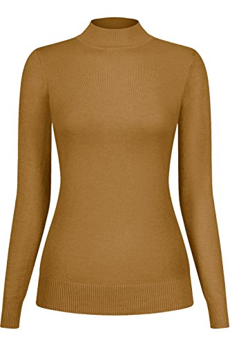 2LUV Women's Silk Blend Stretch Knit Mock Turtleneck Mustard (Girls Mock Turtleneck Sweater)