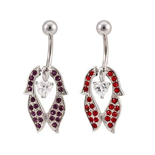 (Moveable Heart and Shield Design Navel Ring Red)