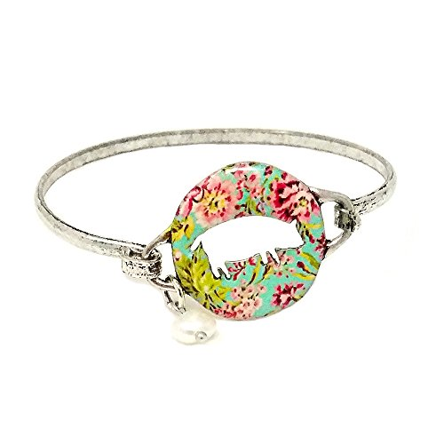 Pig Floral (Emulily Floral Pig Cutourt Bangle Bar Wire Bracelet with Pearl Charm (Silver Burnish))