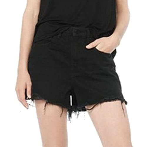 Nice Cruiize Women's Frayed Edge High Waist Summer Stylish Pleated Denim Shorts