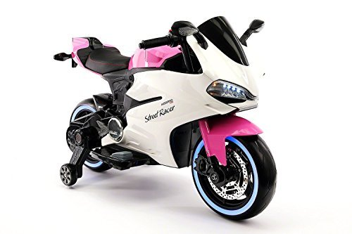Street Racer New Ducati Motorcycles Style 12V Electric Kids Ride-ON Motorcycle | Pink ()
