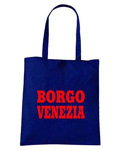 T-Shirtshock - Bolsa para la compra WC0857 BORGO VENEZIA ITALIA CITTA STEMMA LOGO Azul Marino