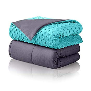 Image of ALPHA HOME Weighted Blanket 25 lbs, 60'x80' Heavy Blanket for Adults and Children- 100% Cotton Material with Free Minky Dot Cover, Teal ALPHA HOME B07H47LLFW Weighted Blankets