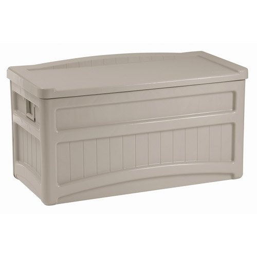 73-Gallon Deck Box w/ Seat, Light Taupe w/ Handles & Wheels, Portable Storage