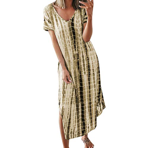 NEARTIMEWomens Short Sleeve Dress Ladies Fashion Casual Large Size Tie-Dyed Printed Split Loose Boho Long Dress ()