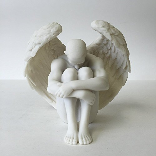 (Male Nude Angel Holding Knees Statue Sculpture )