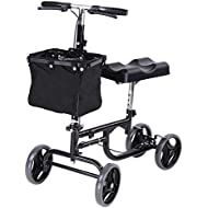 AW Adjustable Knee Scooter Walker w/Basket Steerable Rolling Wheel Weight Capacity 300 lbs