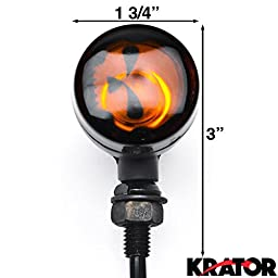 Krator 2pc Skull Lens Black Motorcycle Turn Signals Bulb For Victory Hammer 8-Ball