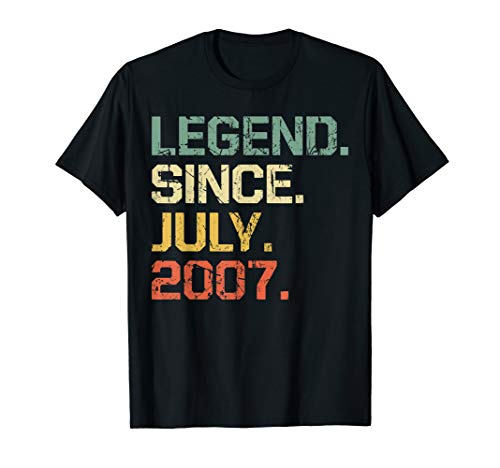 12 Legends - Legend Since July 2007 T-Shirt- 12 Years Old Shirt Gift