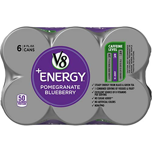41k2dgk1yNL - V8 +Energy, Healthy Energy Drink, Natural Energy from Tea, Pomegranate Blueberry, 8 Fl Oz Can (6 Count (Pack of 4), Total of 24)