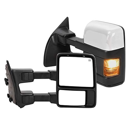 Pair Power Heated Towing Mirrors with Amber Turn LED Signal Rearview Automotive Exterior Mirrors Compatible with 1999-2007 Ford F250/F350/F450/F550 Super Duty, for 2001-2005 Ford Excursion - L&R (03 Excursion Tow Mirrors)