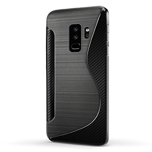 SLEO Funda para Samsung Galaxy S9 Plus SM-G965 Slim Fit TPU Carcasa de Parachoques Case Traslúcido Suave con Absorción de Impactos y Resistente a los Arañazos para Samsung Galaxy S9 Plus SM-G965 - Ros Negro