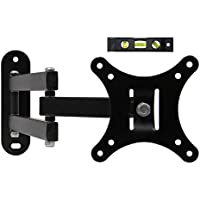 ECO-BEST(TM) 117S Heavy Duty Full Motion Articulating Swivel Tilting TV Wall Mount Bracket for VESA 100 12-24 LCD LED Flat Screen Monitors Display/TVs up to 30lbs Includes 6 Bubble Level