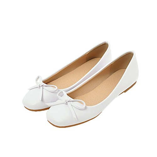 Solid Closed White Heels Pumps On Low Shoes PU Pull Women's WeiPoot Toe qUnHYg4w