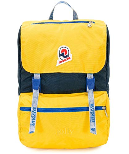Backpack INVICTA - JOLLY III VINTAGE - Yellow original - Laptop pocket - casual 18 LT - Italian Design