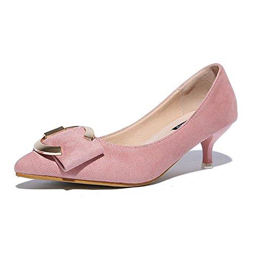 Frauen High Heels FrüHling Und Herbst Wildleder 5CM Mit Spitzen Spitze Mit Flachen Mund Tanz Schuhe Pink